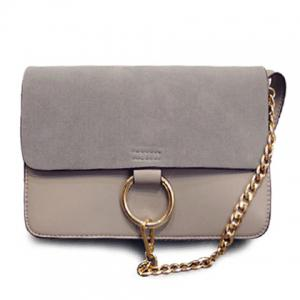 Elegant Suede and Chain Design Women's Crossbody Bag - Gray