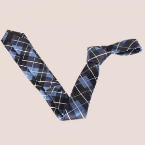 Stylish Striped Embroidery Tartan Jacquard Tie For Men - CHECKED