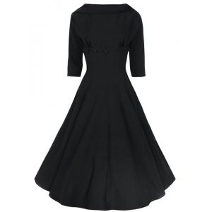 Vintage Stand-Up Collar Half Sleeve Pure Color Women's Dress - Black - 2xl