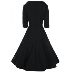 Vintage Stand-Up Collar Half Sleeve Pure Color Women's Dress -