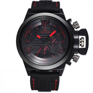 FORZA SPORT 2497 Montre Quartz au Japon avec Décors Décoratifs Luminous Pointers Silicone Band for Men - Rouge