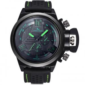 FORZA SPORT 2497 Japan Quartz Watch with Decorative Sub-dials Luminous Pointers Silicone Band for Men -