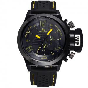 FORZA SPORT 2497 Montre Quartz au Japon avec Décors Décoratifs Luminous Pointers Silicone Band for Men - Jaune