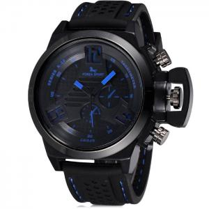 FORZA SPORT 2497 Japan Quartz Watch with Decorative Sub-dials Luminous Pointers Silicone Band for Men - Blue