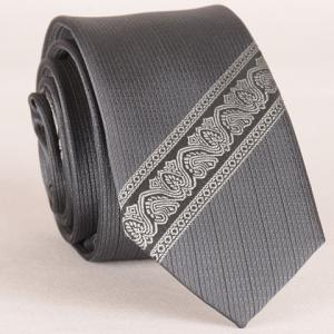 Stylish Ethnic and Twill Jacquard Gray Tie For Men - Gray - S