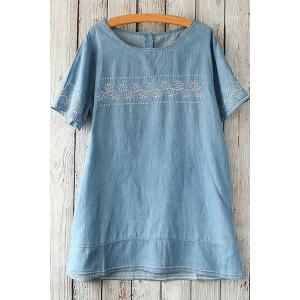 Embroidered Short Sleeve Top - Light Blue - One Size(fit Size Xs To M)