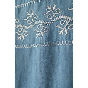 Embroidered Short Sleeve Top - LIGHT BLUE ONE SIZE(FIT SIZE XS TO M)