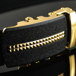 PU Leather Geometric Pattern Automatic Buckle Formal Belt - BLACK