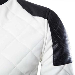 Stylish Slimming Stand Collar Color Block Rib Splicing Long Sleeve PU Leather Jacket For Men - WHITE 2XL