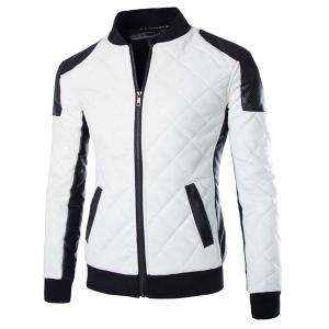Stylish Slimming Stand Collar Color Block Rib Splicing Long Sleeve PU Leather Jacket For Men - White - L