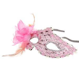 Elegant Halloween Masquerades Party Lace Feather Half Face Mask with  Flower -