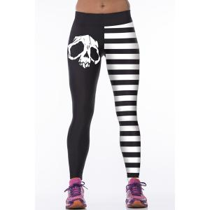 Skulls Stripes Tight Leggings