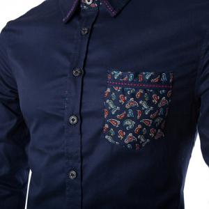 Stylish Slimming Shirt Collar Paisley Pattern Splicing Long Sleeve Cotton Blend Shirt For Men -