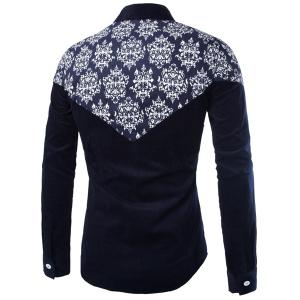 Modish Slimming Shirt Collar Color Block Ethnic Print Splicing Long Sleeve Corduroy Shirt For Men - CADETBLUE L