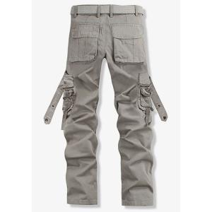 Loose Fit Trendy Solid Color Multi-Pocket Straight Leg Men's Cotton Blend Cargo Pants - GRAY 28