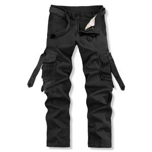 Loose Fit Trendy Solid Color Multi-Pocket Straight Leg Men's Cotton Blend Cargo Pants - Black - 38