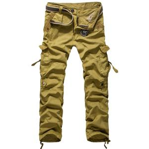 Loose Fit Modish Multi-Pocket Solid Color Straight Leg Men's Cotton Blend Cargo Pants - Khaki - 36