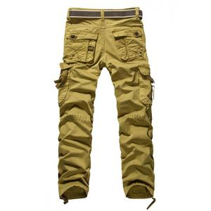Loose Fit Modish Multi-Pocket Solid Color Straight Leg Men's Cotton Blend Cargo Pants - KHAKI 36