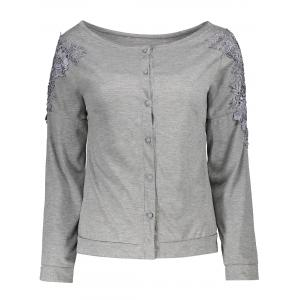 Long Sleeve Lace Embellished T-Shirt
