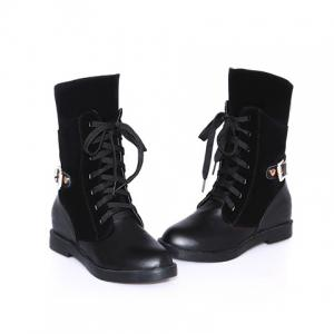 Retro Solid Color and Splicing Design Women's Boots -