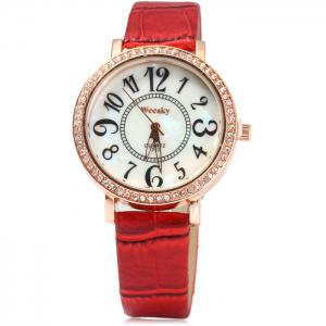 Weesky 1212 Golden Case Diamond Quartz Watch with Leather Band for Women -