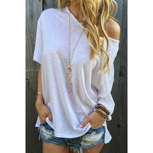 Stylish Oblique Shoulder Short Sleeve Solid Color Women's T-Shirt - White - L