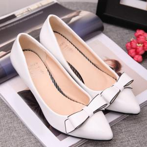 Stunning Patent Leather and Bowknot Design Pointed Toe Women's Pumps -