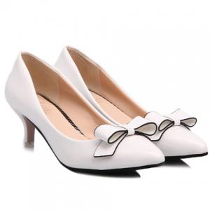 Stunning Patent Leather and Bowknot Design Pointed Toe Women's Pumps - WHITE 39