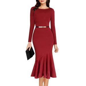 Boat Neck Long Sleeve Bodycon Mermaid Dress