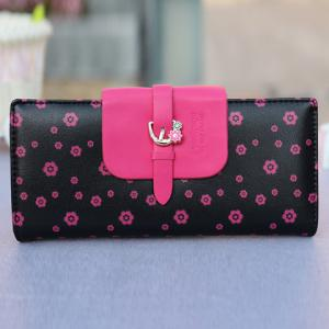 Sweet Floral Print and Buckle Design Women's Wallet -