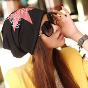 Chic Big Five-Pointed Star and Scrawl Pattern Multifunctional Beanie For Women -