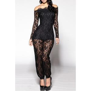 Sexy Off-The-Shoulder Lace Hollow Out Long Sleeve Jumpsuit For Women - Black - L