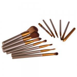 12 Pcs Makeup Brush Set with Pure Color Pouch - AS THE PICTURE