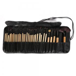 32 Pcs Makeup Brush Set with Faux Leather Pure Color Bag - Black - 42