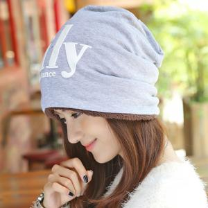 Chic Letters Pattern Double-Deck Thicken Beanie For Women - Light Gray - W71 Inch * L71 Inch