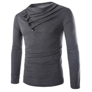 Modish Slimming Cowl Neck Solid Color Button Design Long Sleeve Polyester T-Shirt For Men