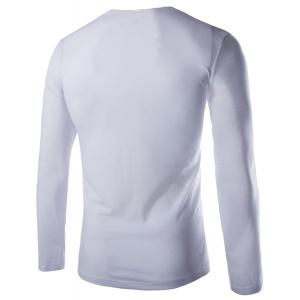 Modish Slimming Cowl Neck Solid Color Button Design Long Sleeve Polyester T-Shirt For Men - WHITE L