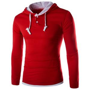 Hooded Color Block Panel Polyester T-Shirt - Red - M