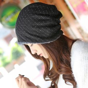 Chic Small Hole Double-Deck Thicken Knitted Beanie For Women - Black - W71 Inch * L71 Inch