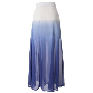 Ombre Color Flowy Chiffon Skirt - AS THE PICTURE L