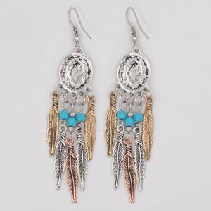 Faux Turquoise Beads Feather Tassel Earrings -