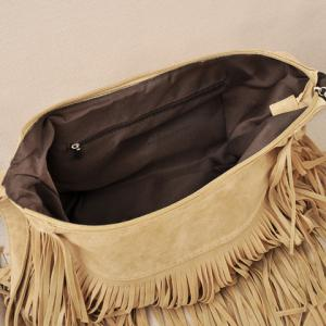 Stylish Suede and Fringe Design Women's Crossbody Bag -