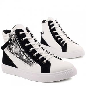 Zipper Snake Print Leather High Top Sneakers -