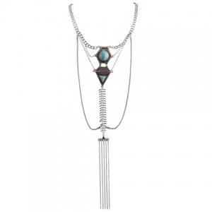 Retro Faux Turquoise Inlaid Geometric Shape Long Tassel Necklace