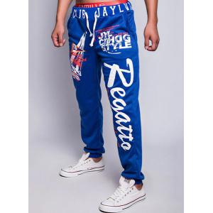 Loose Fit Fashion Lace-Up Sailing Print Rib Splicing Beam Feet Men's Polyester Sweatpants -