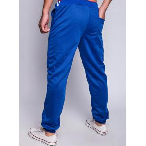 Loose Fit Fashion Lace-Up Sailing Print Rib Splicing Beam Feet Men's Polyester Sweatpants - SAPPHIRE BLUE 2XL
