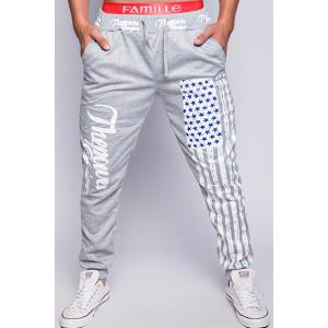 Loose Fit Stylish Lace-Up American Flag Print Beam Feet Men's Polyester Jogger Pants - Light Gray - M
