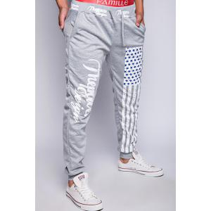Loose Fit Stylish Lace-Up American Flag Print Beam Feet Men's Polyester Jogger Pants - LIGHT GRAY XL