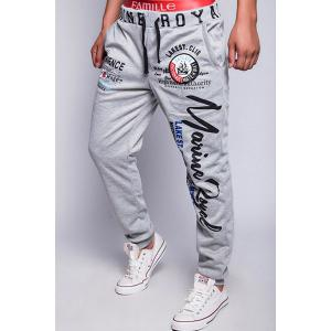 Loose Fit Fashion Drawstring Multicolor Letters Print Beam Feet Men's Polyester Jogger Pants - LIGHT GRAY 2XL