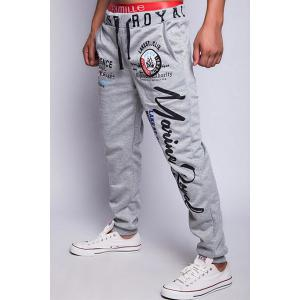 Loose Fit Fashion Drawstring Multicolor Letters Print Beam Feet Men's Polyester Jogger Pants -